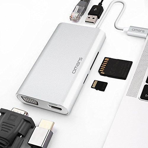 Omars USB ハブ ドッキングステーションType C PD HDMI VGA LAN(1000M) SD TFカード USB 3.0 アダプタMacbook Pro対応