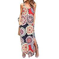 Silvous Women's Casual Loose Pocket Long Dress Summer Beach Floral T Shirt Dresses