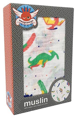 LITTLE LINEN COMPANY ザリトルリネンカンパニー ウィーゴアミーゴ Weegoamigo おくるみ ガーゼ モスリン 1枚 単品 箱入り Single Pack Muslin Radosaurs ラドサウルス