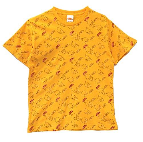 【HRA5300MB】チキンラーメン ひよこちゃん 天竺 総柄半袖Tシャツ (イエロー, LL)
