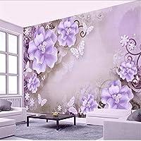 Wuyyii 3 Dの壁紙リビングルームの寝室の壁画Hdレリーフローズ真珠北欧風のテレビの背景壁画写真-400X280Cm