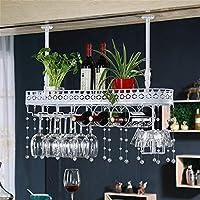 CHRDW ワインラック金属壁掛けワインラックぶら下げカウンターカップホルダーワイングラスゴブレットラック高さ調節可能な30〜60センチ棚用レストラン、バー(クリスタルペンダントを含む) (Color : White, Size : 80x25cm)