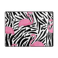 "My Daily Flamingo Zebra Stripes Area Rug 4' x 5' 3インチ、リビングルームベッドルーム台所装飾軽量Foam Printed Rug 4' x 5'3"""