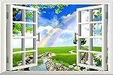 緑 森 草原 ウォール ステッカー 壁紙 インテリア 模様 シール & 説明書 付き (ノーマル, 草原 と 虹)