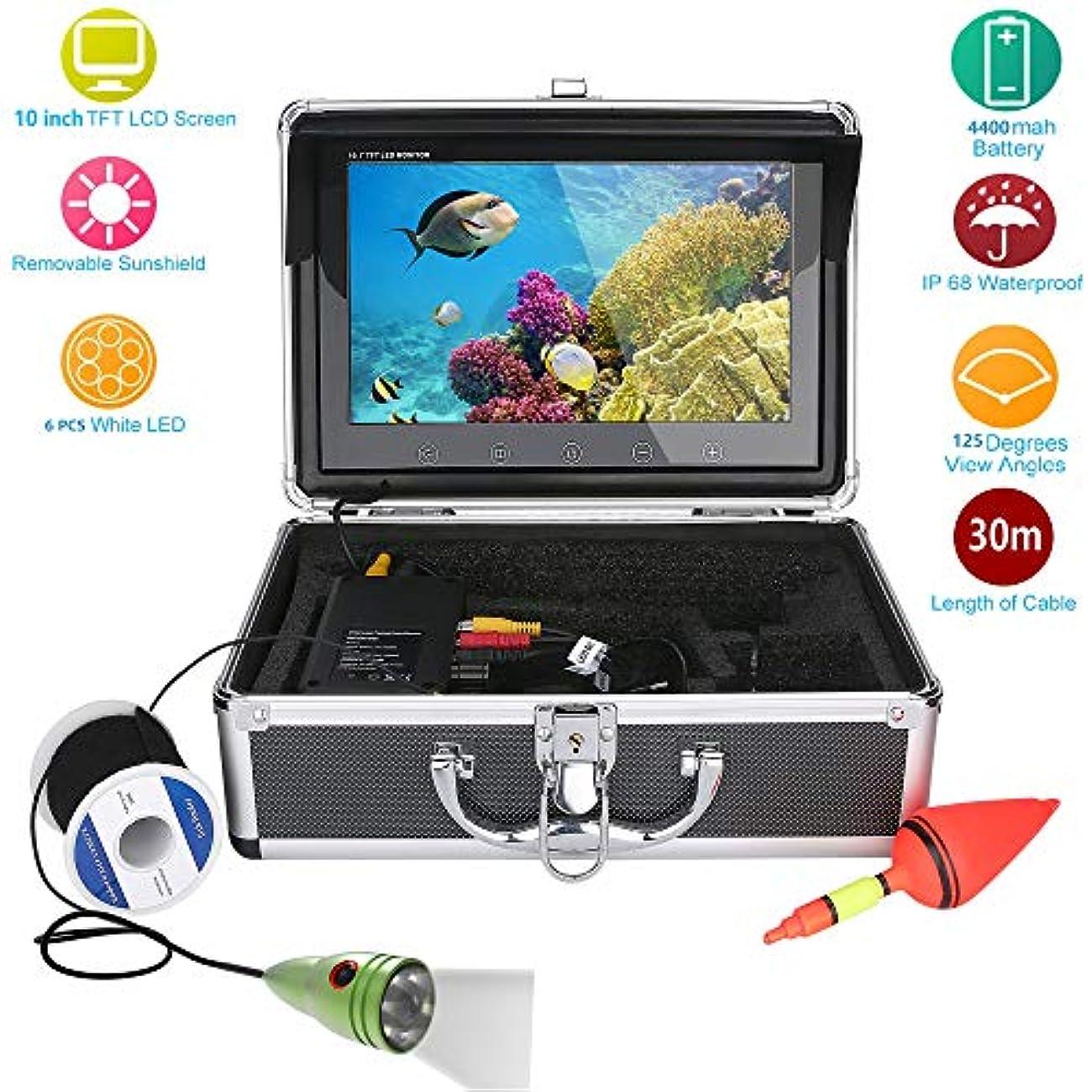 水中フィッシュファインダー HD 水中カメラ10インチ液晶モニター IP68 防水1000tvl 水中釣りカメラ (30m)
