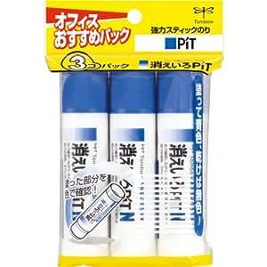 トンボ鉛筆 スティックのり 消えいろピットN 3個 HCA-322