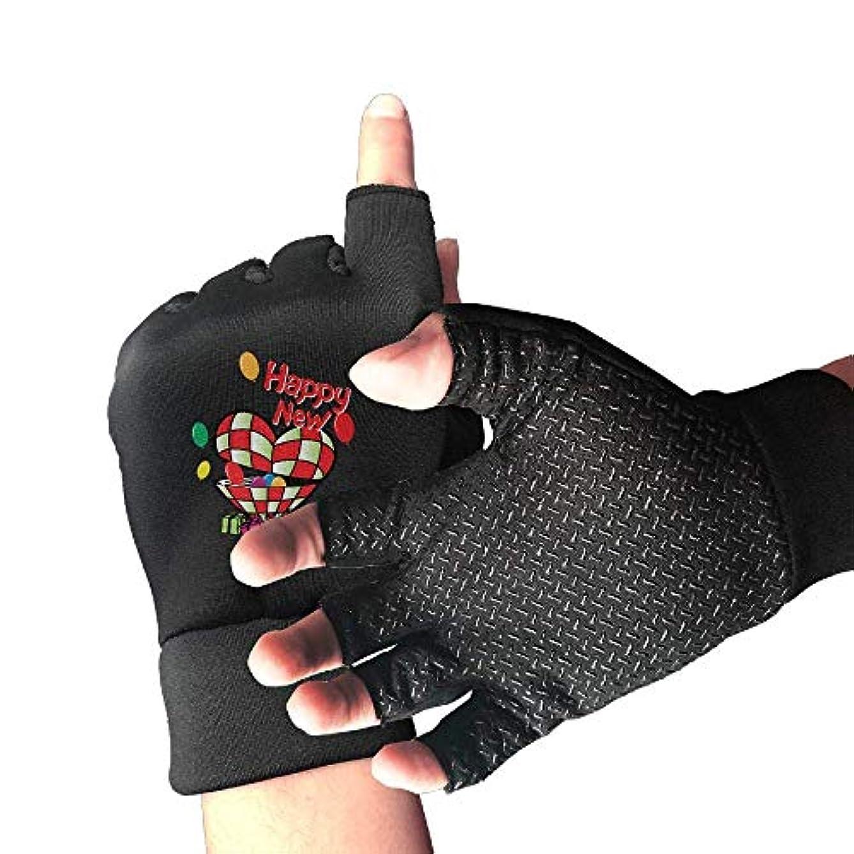 仮定する手術ご意見サイクリング手袋新年あけましておめでとうございますハートメンズ/レディースマウンテンバイク用手袋ハーフフィンガースリップ防止オートバイ用手袋