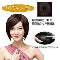 ハッピーウイッグ 人毛ウィッグ フルウィッグ 人毛100% 人工皮膚付け 女性 医療用ウィッグ (自然な黒)