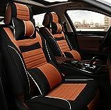 (ファーストクラス)FirstClass フォーシーズン カーシートカバー フルセット フロント リアシートカバー 滑り止めシート 車シート保護 エアバッグホールあり 腰クッション付き ヘッドレスト付き リネンコットン製 通気性に富む 快適 5シート車汎用 10枚 ブラック&オレンジ