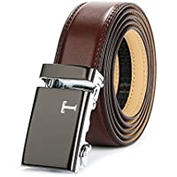Tonywell Mens Leather Ratchet Dress Belt Wide 35mm with Automatic Buckle