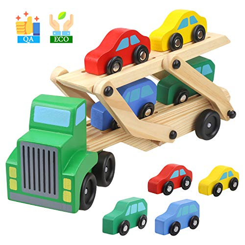 TWONE 木のおもちゃ 木製おもちゃ 知育玩具 汽車セット トラック 男の子 クリスマスプレゼント 誕生日ギフ...