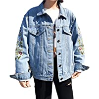 wlsomegoo Womens Floral Embroidered Denim Jacket Boyfriend Loose Outwear Button Front Jean Jacket