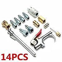 14ピース/セット金と銀金属エアツールコンプレッサーブローガンチャック空気圧アクセサリーアクセサリーキット耐久性