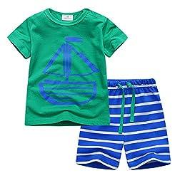 (ディゾン)dizoon [夏シリーズ]キッズ 子供 ベビー 服 パジャマ 綿100% 半袖Tシャツ 半ズボン 船 ボーダー 1-9歳