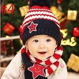 選べる7色 ニット帽子とマフラー セット耳まであったかキャップ ベビー キッズ 子供用 ニットキャップかわいい 赤ちゃんニット帽誕生日 出産祝い 記念写真の衣装にベビー 防寒帽子 (#4)