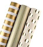 LaRibbons 包装紙 760mm×3m 3巻(ゴールド)