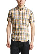Short Sleeve Linen Cotton Madras Buttondown Shirt 1216-149-0831: Yellow