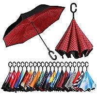 Bagail 複層 逆に開く傘 逆折り式傘 防風 紫外線防御 ビッグ 長傘 C型手元 車用 雨の日用 アウトドア用 赤い点