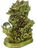 龍如戯(水晶2個付)樹脂製水晶玉で戯れるドラゴン(寿山石)龍の置物・辰年の干支グッズ ※1配送につき試供品「かんたん風水八角鏡ミラーステッカー」1セット(4枚組)プレゼント♪
