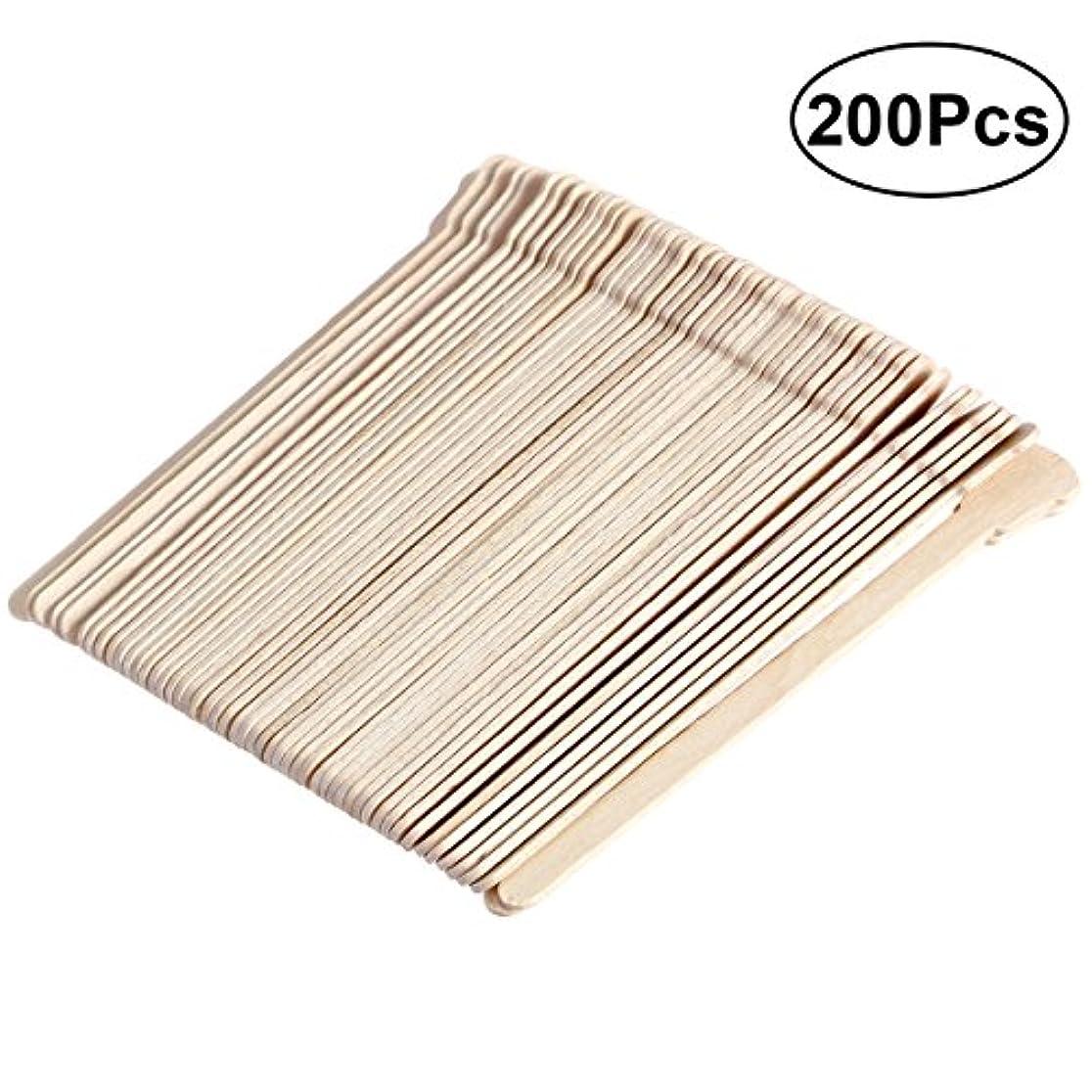 空港平凡サロンSUPVOX 200ピース木製ワックススティックフェイス眉毛ワックスへら脱毛(オリジナル木製色)