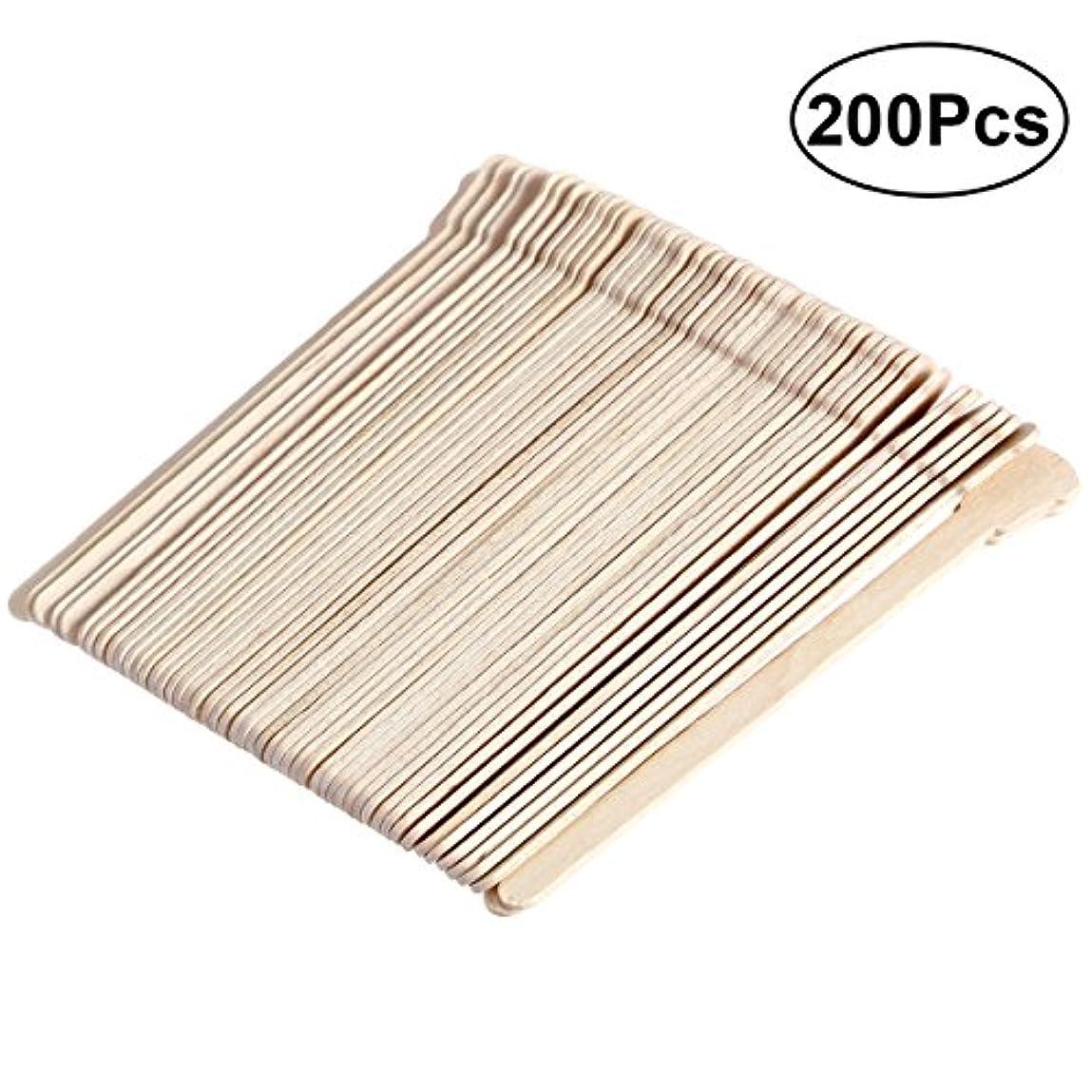 温度ベッツィトロットウッド苦痛SUPVOX 200ピース木製ワックススティックフェイス眉毛ワックスへら脱毛(オリジナル木製色)