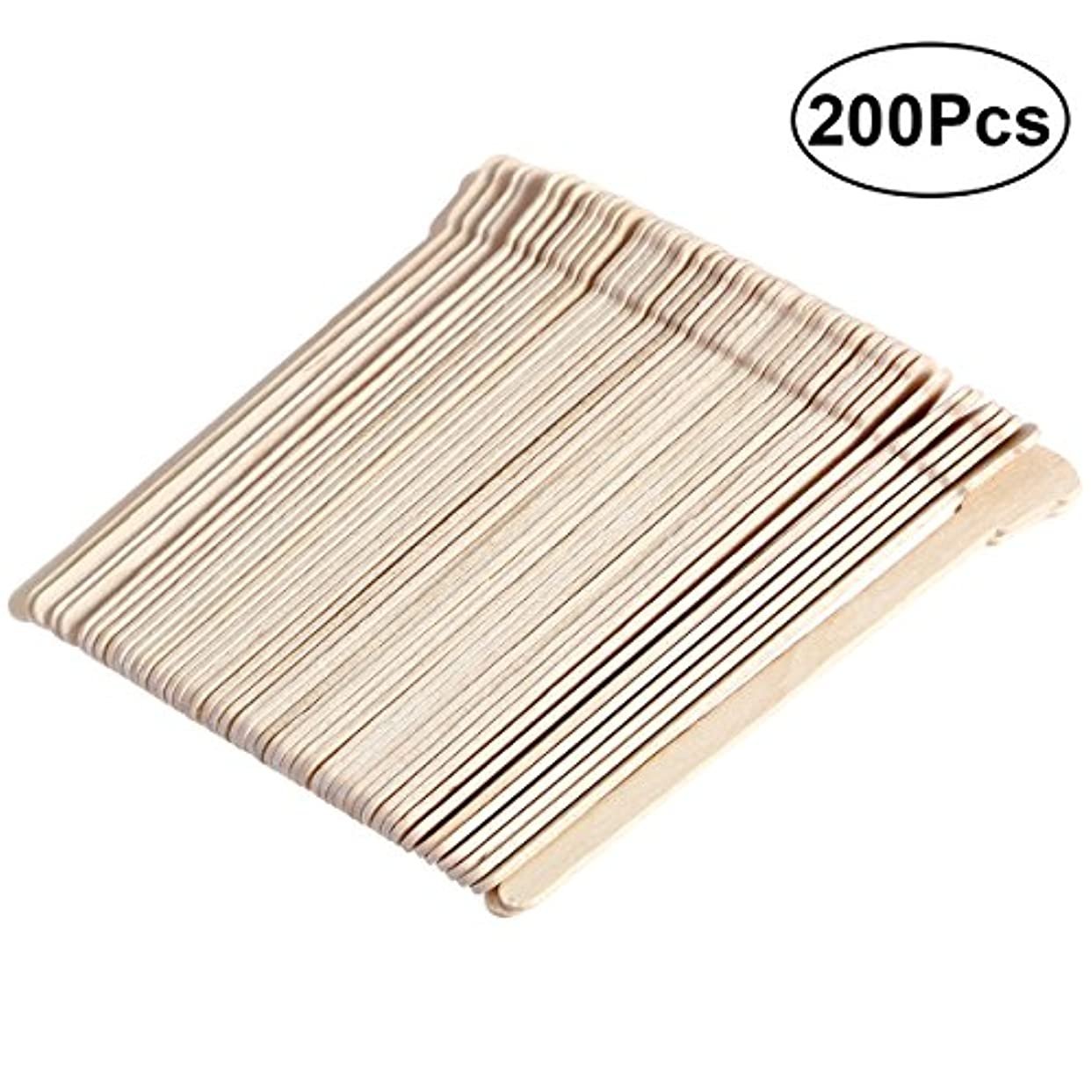 ワンダー廃止薄いですSUPVOX 200ピース木製ワックススティックフェイス眉毛ワックスへら脱毛(オリジナル木製色)