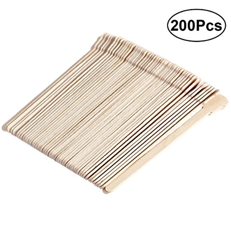 禁じるスチュワーデス最適SUPVOX 200ピース木製ワックススティックフェイス眉毛ワックスへら脱毛(オリジナル木製色)