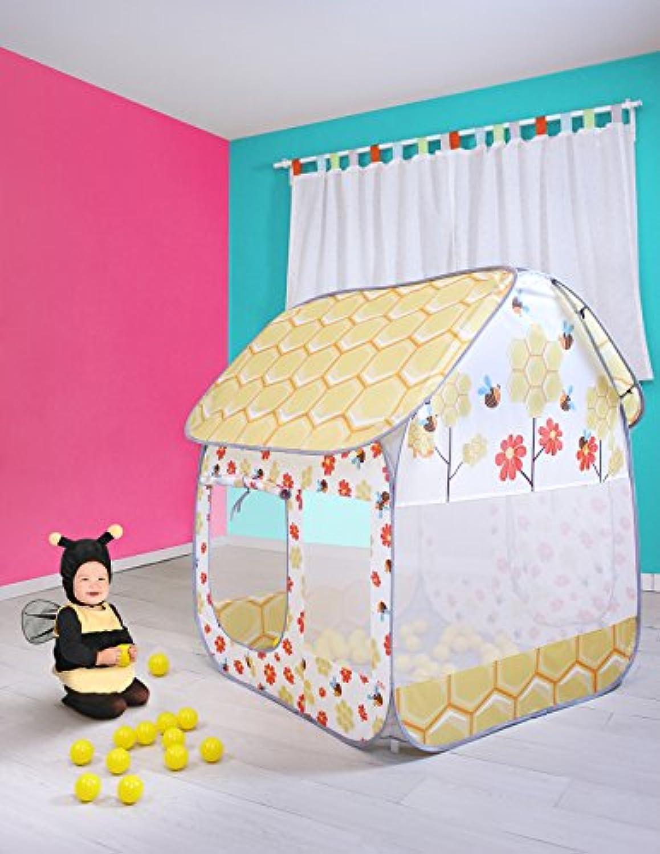 Sugar Q通気性Giant Largeポータブル折りたたみポップアップイエローHoney Bees再生テントPlayhouse再生Hut Ball Pitプールおもちゃ、キッズ用ガールズ/ Boy誕生日ギフトクリスマスパーティーインドア/アウトドア非毒性/ odor-free