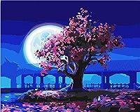 Huihuart DIYの油絵(フレームを組み合わせた)、装飾的な絵画 月明かりの下での桃の木の数字によるDIYの着色写真40x50cm
