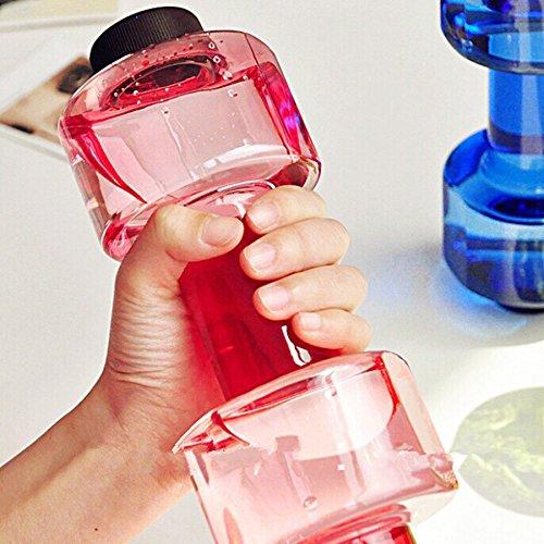 B-PING ダンベル カップ フィットネス スポーツ ウォーター ボトル プラスチック カップ 漏れ防止 創意なボトル ダンベルの形 直飲み エコボトル プラスチック製 無毒無臭 550ml 3色選べる (レッド)