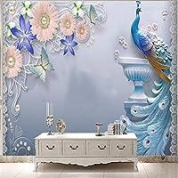 Lixiaoer カスタム3Dレトロ孔雀抽象壁画寝室テレビリビングルーム背景装飾壁画壁紙-250X175Cm