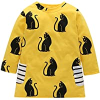 HappyMA Toddler Kids Baby Girls Outfits Cat Print T-Shirt Dress Long Sleeve Skirt One-Piece Clothes Set