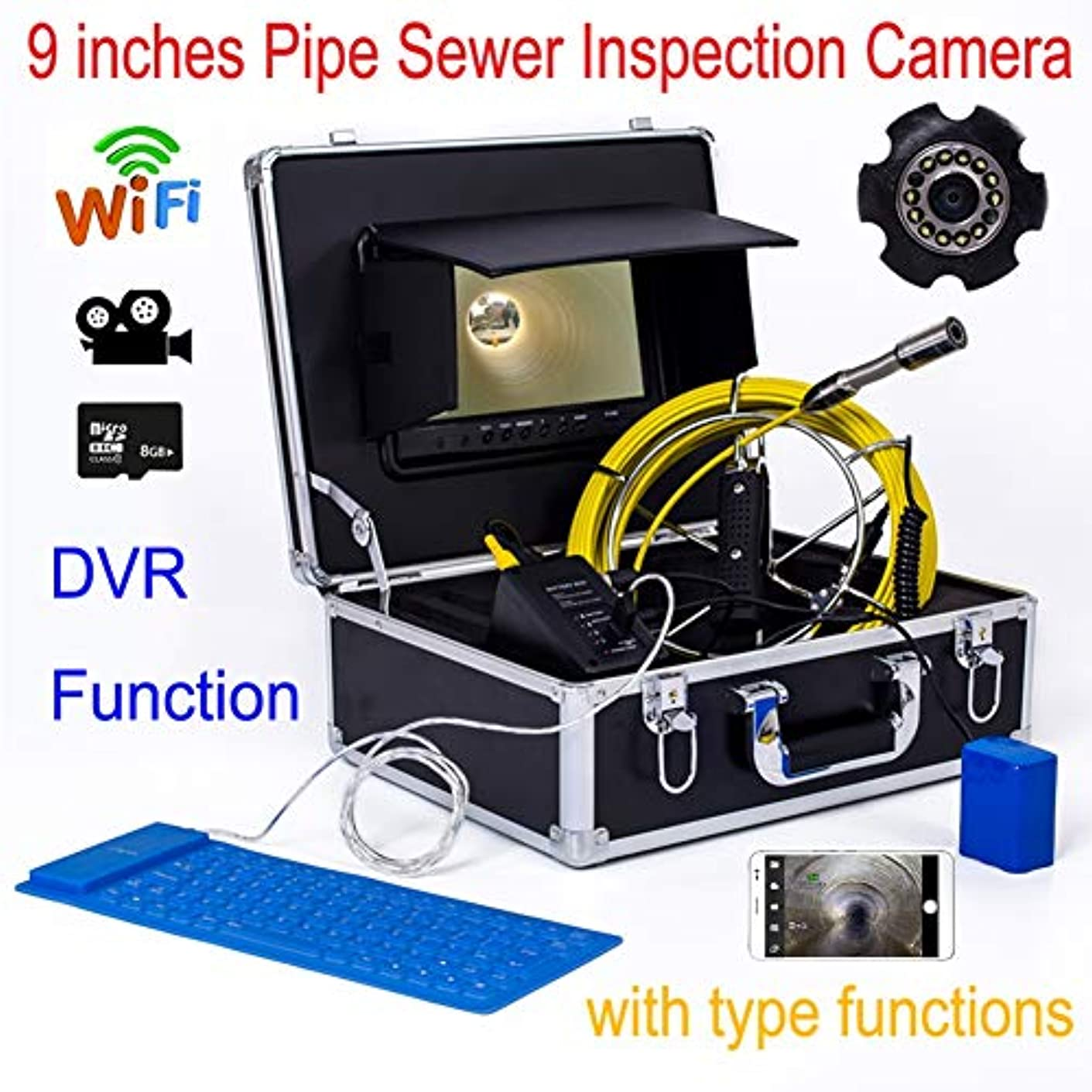式検出器矛盾9インチの WIFI 23MM 産業パイプライン下水道検出カメラ IP68 防水排水検出 1000 TVL カメラ DVR ビデオ (40M)