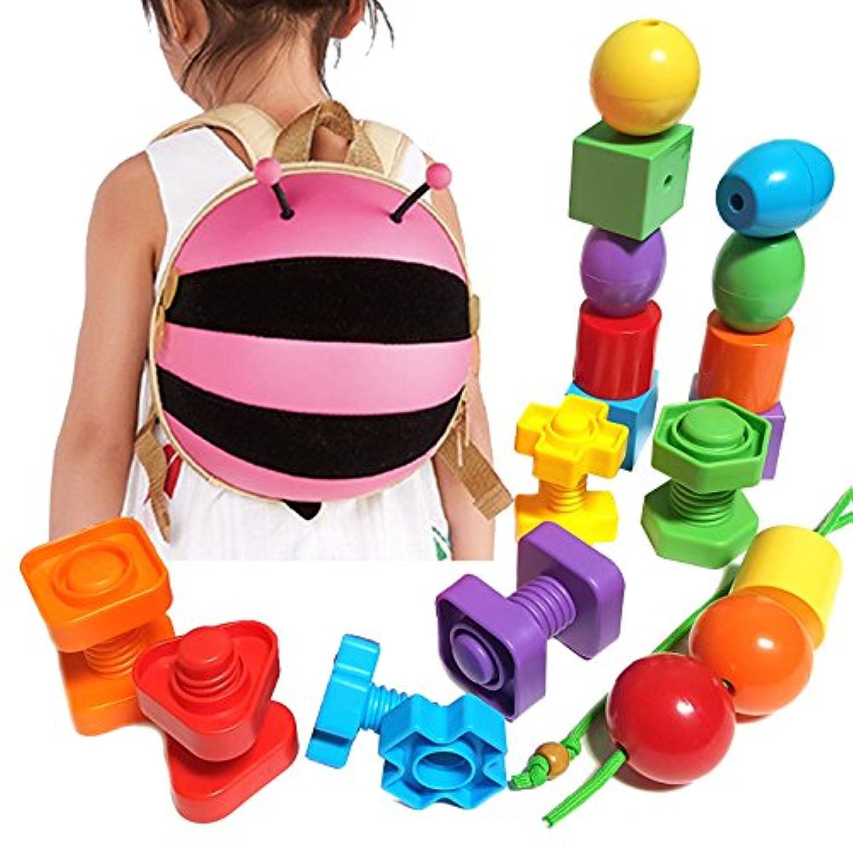 子供用動物バックパックwith教育玩具セット – プライマリLacing Beads /ジャンボナット&ボルト。Learn色、形状、並べ替え、Stacking、モータースキルand More ( 24 pcセット+幼児用旅行バックパック) Pink Bumblebee
