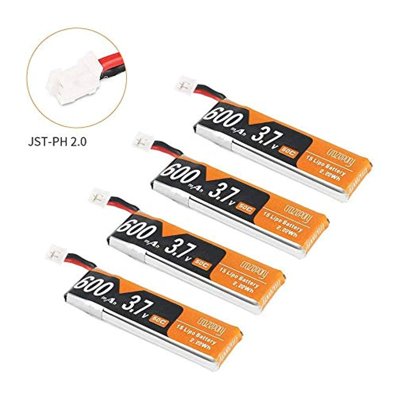 4個 600mAh 1S LiPoバッテリー 3.7V 50C JST-PH 2.0 PowerWhoop mCPXコネクター 充電式 1S リポバッテリー Inductrix FPV Plus Tiny Whoop FPV レーシングドロンなど用