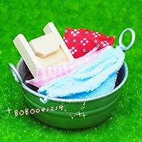 bobominiworld A Tin Washバケット洗濯板と布でドールハウスミニチュア装飾1 : 12スケール直径4.6 CMシルバー