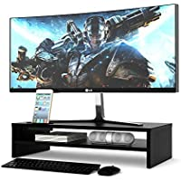 1homefurnit Universal Wood Monitor Stands Speaker TV PC Laptop Computer Screen Riser Desk Organizer 21.3 inch with Shelf Black [並行輸入品]