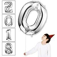 風船0数字パーティー誕生日結婚式飾り物アルミシルバーバルーン40インチ超巨大(0-9)J000S