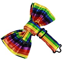 Bullidea 1pc Mens Pure Plain Bowtie Rainbow Stripes Pre-Tied Bow Tie for Wedding Party Novelty Fancy Dress Polyester