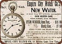 Shimaier 壁の装飾 メタルサイン 1875 Empire City Watches ウォールアート バー カフェ 縦20×横30cm ヴィンテージ風 メタルプレート ブリキ 看板