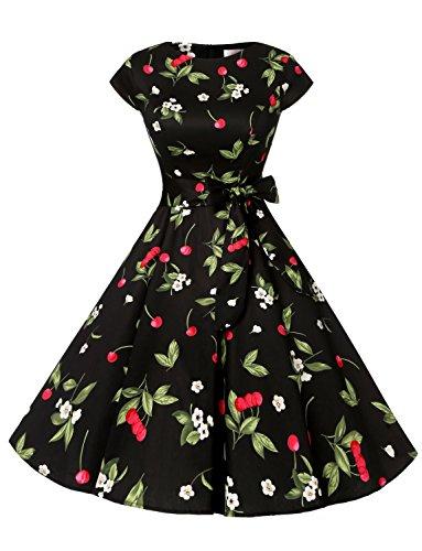 ドレッシースター 1956スイングワンピース レトロ ドレス 50年代 ロカビリー ベルト付き レディーズ チェリー ブラック XSサイズ