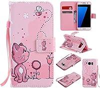 Samsung Galaxy S7 edge対応 可愛い 猫 かわいい ねこ  docomo SC-02H au SCV33 マグネット式手帳型ケース 少女風 横開き PUレザー 手帳型カバー ストラップ付き スタンド機能付き カード収納 ポケットホルダー付き  ギャラクシー S7エッジ 人気 女性 おしゃれ 薄型ケース (Galaxy S7 edge, ピンクの猫)