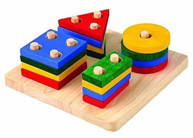 MXtechnic幾何インテリジェンスボード子供木製スタッキングwith 4列Building Blocks
