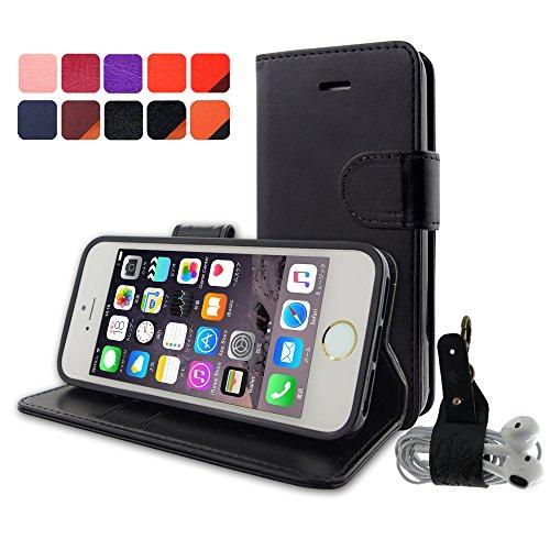 【HANATORA】 iPhone SE/5S/5 対応 PUレザー 手帳型ケース BLACK YHX5-03BLACK