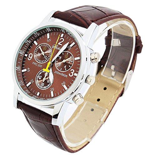 選べる 5 色 レザー ベルト メンズ 腕時計 シンプル で おしゃれ スーツ 似合う ビジネス ウォッチ カジュアル 腕 時計 軽量 【 BOX & 時計拭き 付 】 (ブラウン)