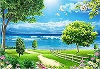 Bzbhart 3D壁紙壁画シルクの壁のステッカー風景緑の芝生青空白い雲蝶 壁-400cmx280cm