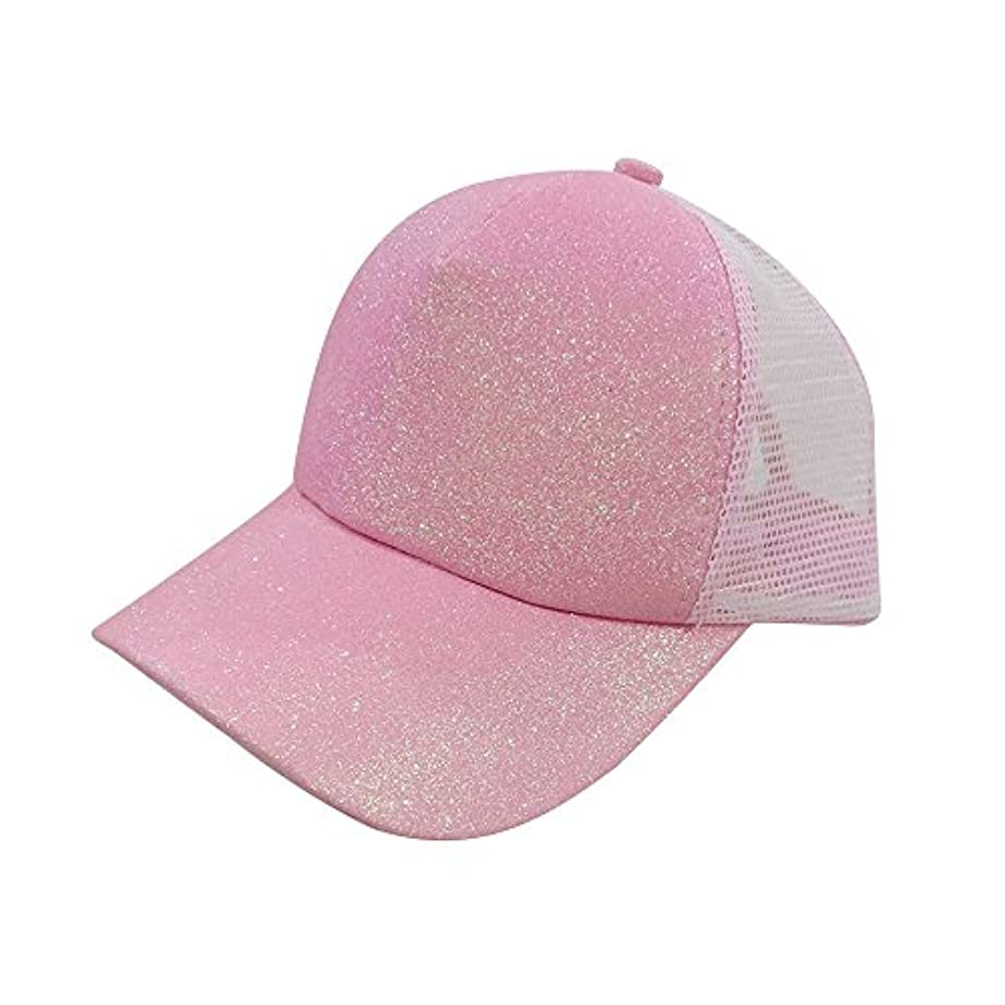 ミリメートルスコアカメRacazing Cap スパンコール 無地 メッシュ 野球帽 通気性のある ヒップホップ 帽子 夏 登山 可調整可能 棒球帽 男女兼用 UV 帽子 軽量 屋外 Unisex Cap (ピンク)
