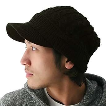 ピースクロージング ツバ付き細ケーブルニット帽子ジープ 男女兼用 メンズ レディース ブラウン