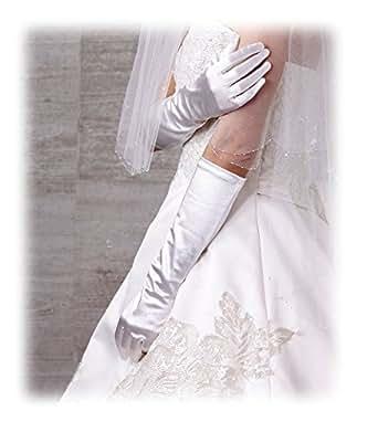腕が細く見える ウェディンググローブ ストレッチ サテングローブ 日本製 40~50cm 独自のカッティングでぴったりフィット 結婚式 手袋 (40cm, W(ホワイト))