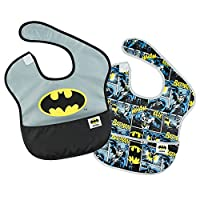 Bumkins DC Comics Batman SuperBib, Baby Bib, Waterproof, Washable, Stain and Odor Resistant, 6-24 Months (Pack of 2)